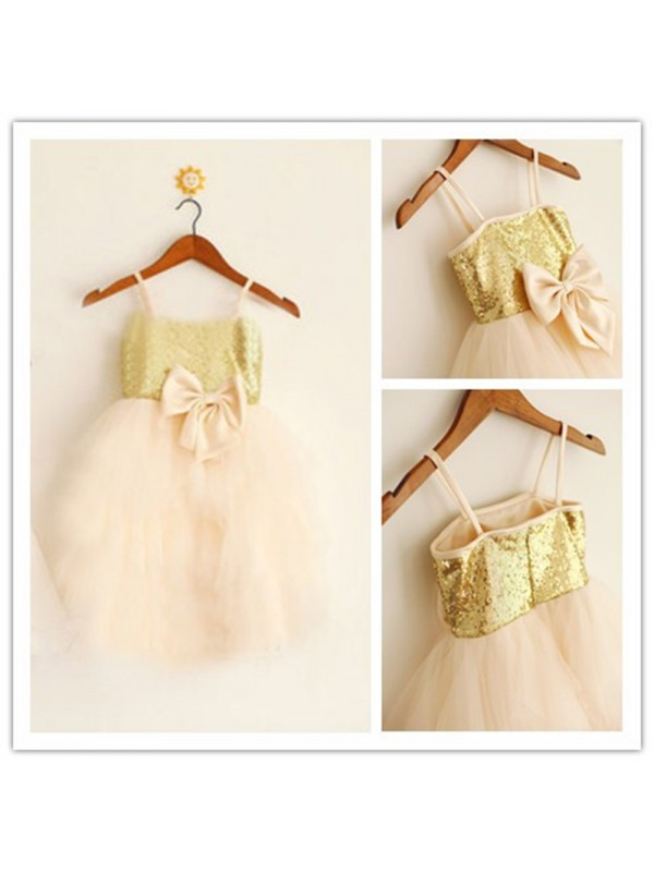 Princess Spaghetti Straps Floor-Length Tulle Flower Girl Dress With Sequin