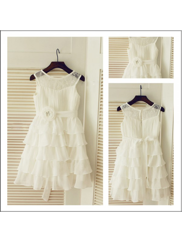 A-Line Scoop Floor-Length Chiffon Flower Girl Dress With Layers