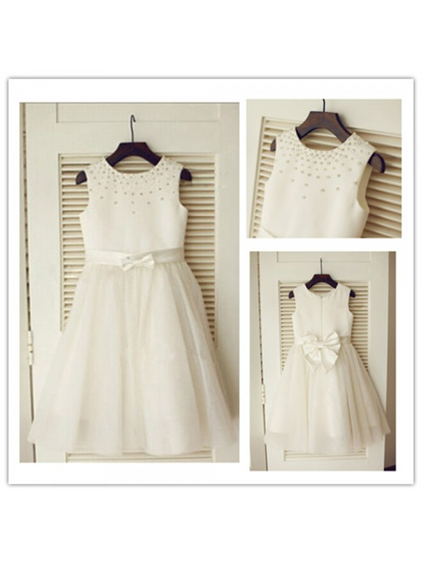 A-Line Scoop Floor-Length Tulle Flower Girl Dress With Bowknot