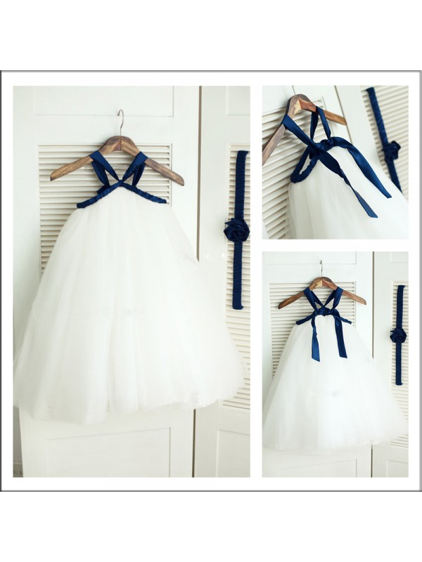 Ball Gown Spaghetti Straps Floor-Length Tulle Flower Girl Dress With Belt