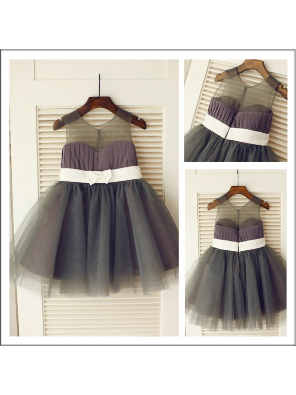 Ball Gown Sheer Neck Floor-Length Tulle Flower Girl Dress With Bowknot