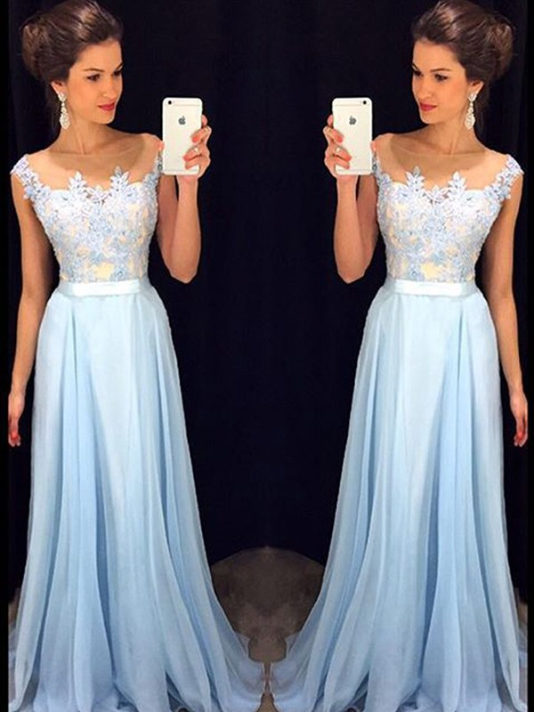 A-Line/Princess Sleeveless Sheer Neck Applique Sweep/Brush Train Chiffon Dresses