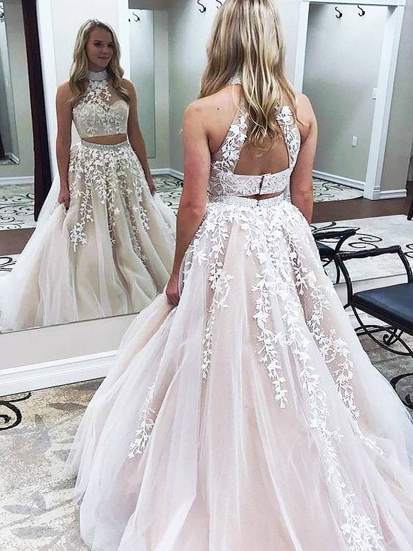 A-Line/Princess High Neck Sweep/Brush Train Sleeveless Applique Tulle Two Piece Dresses