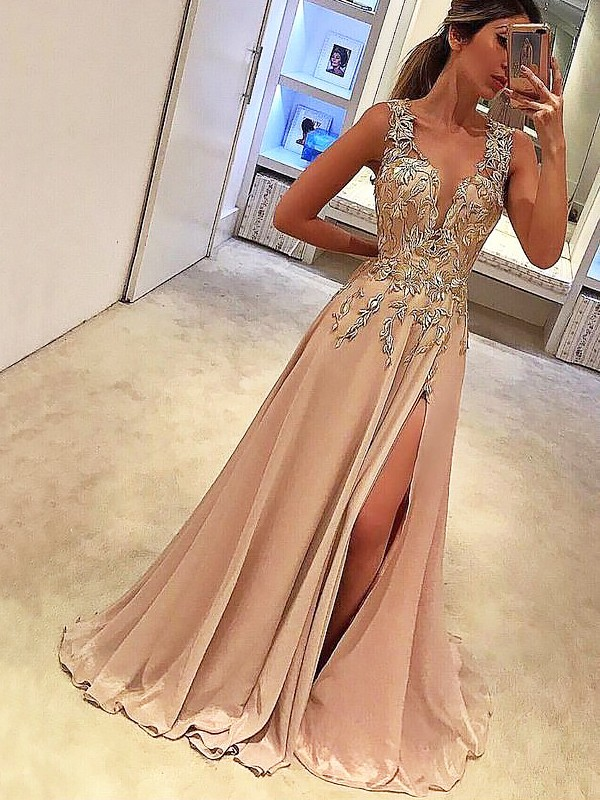 A-Line/Princess V-neck Floor-Length Sleeveless Silk like Satin Applique Dresses