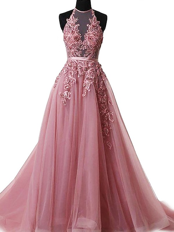 A-Line/Princess Sleeveless Sweep/Brush Train Halter Applique Tulle Dresses