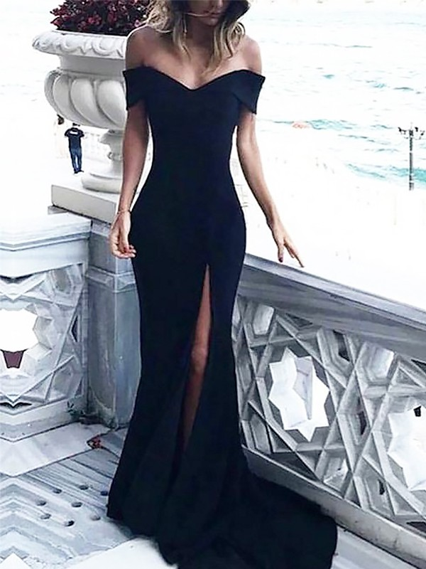 Sheath Sleeveless Off-the-Shoulder Court Train Ruched Spandex Dresses