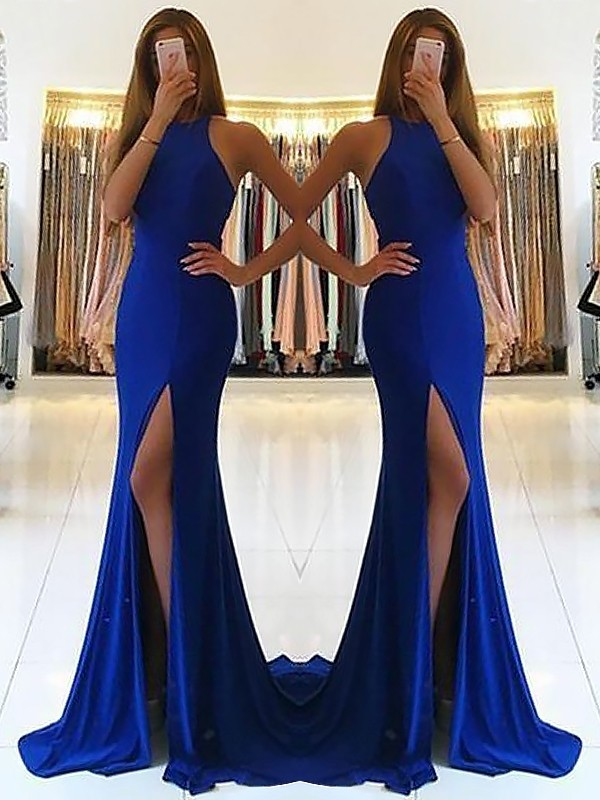 Sheath Sleeveless Sweep/Brush Train Ruffles Halter Spandex Dresses