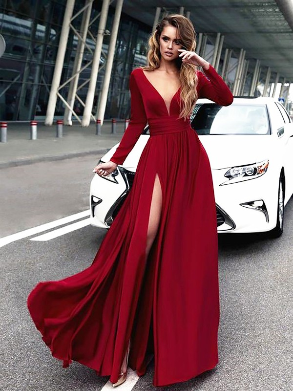 A-Line/Princess V-neck Satin Chiffon Floor-Length Long Sleeves With Ruffles Dresses