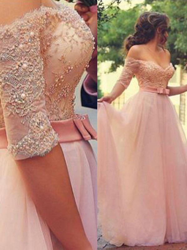 A-Line/Princess Off-the-Shoulder 1/2 Sleeves Floor-Length With Lace Tulle Dresses