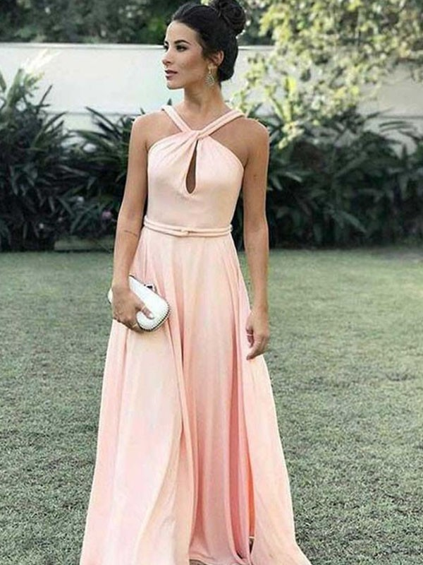 A-Line/Princess Halter Sleeveless Chiffon Floor-Length Ruched Dresses