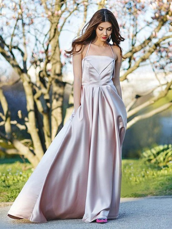 A-Line/Princess Halter Sleeveless Sweep/Brush Train Satin Ruched Dresses