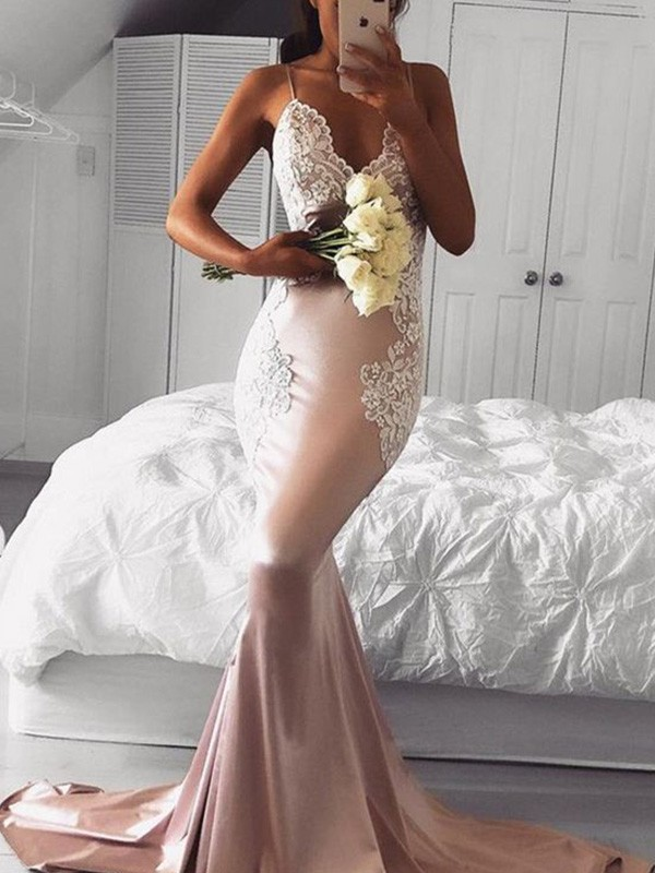 Trumpet/Mermaid Straps V-neck Sleeveless Sweep/Brush Train With Applique Satin Dresses