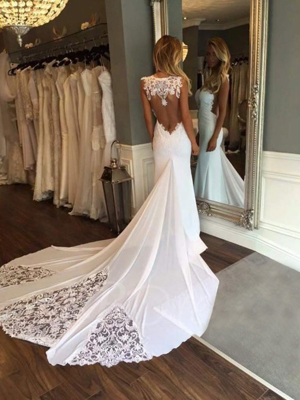 Trumpet/Mermaid Sleeveless Sweetheart Cathedral Train Lace Applique Wedding Dresses