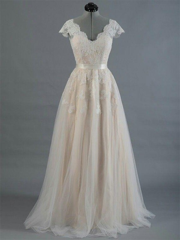 A-Line/Princess V-neck Sleeveless Floor-Length Applique Lace Wedding Dresses