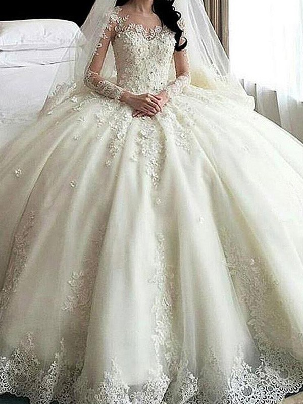 Ball Gown Long Sleeves Scoop Cathedral Train Lace Applique Tulle Wedding Dresses