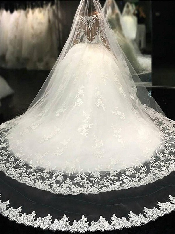 Ball Gown Scoop Long Sleeves Cathedral Train Lace Applique Tulle Wedding Dresses