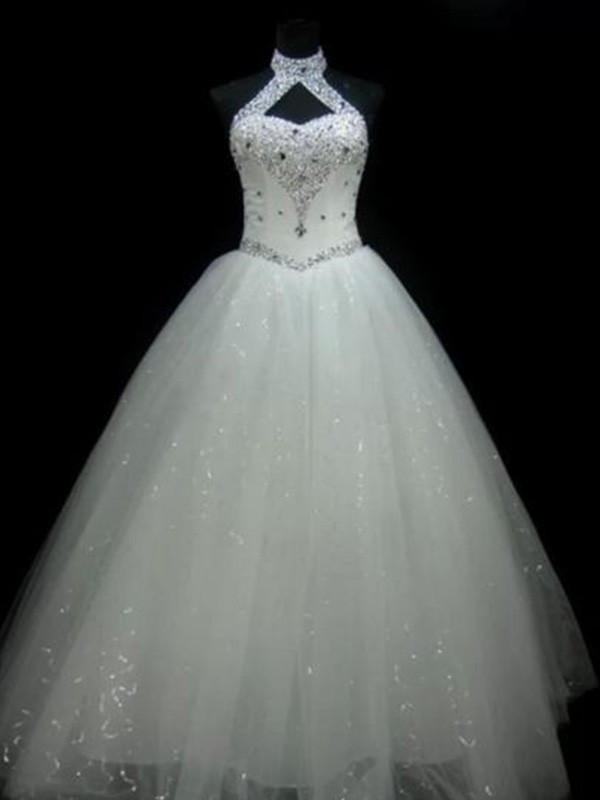 Ball Gown Halter Sleeveless Beading Sequin Tulle Floor-Length Wedding Dresses