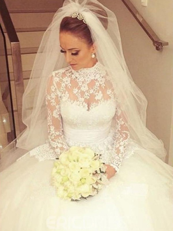 Ball Gown High Neck Long Sleeves Sweep/Brush Train Sash/Ribbon/Belt Lace Wedding Dresses