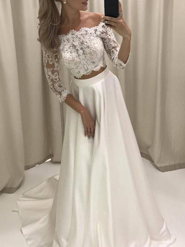 A-Line/Princess Off-the-Shoulder 3/4 Sleeves Court Train Satin Applique Wedding Dresses