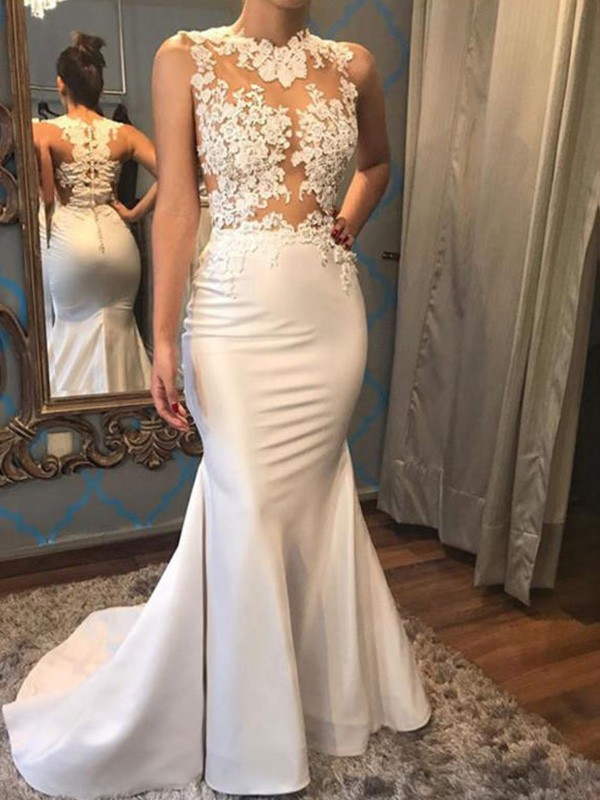 Trumpet/Mermaid Scoop Sleeveless Court Train Applique Satin Wedding Dresses