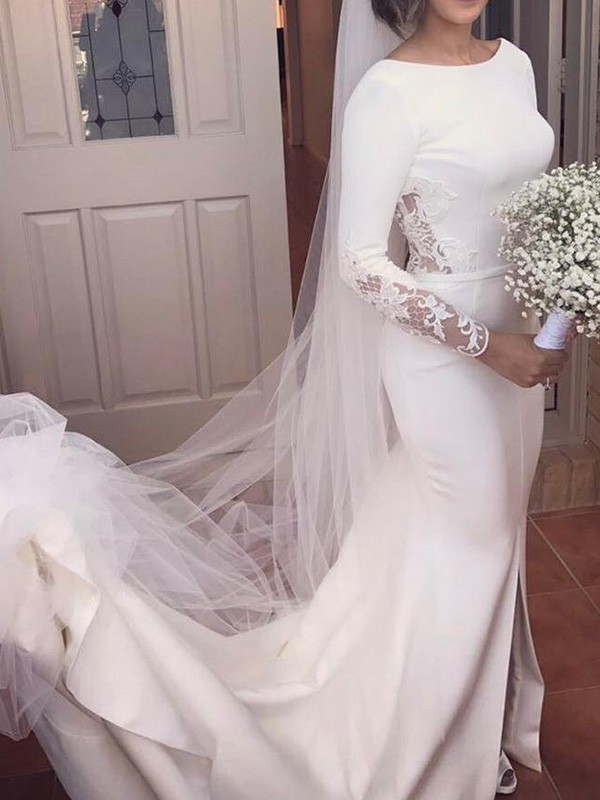 Trumpet/Mermaid Long Sleeves Scoop Satin Court Train Lace Wedding Dresses