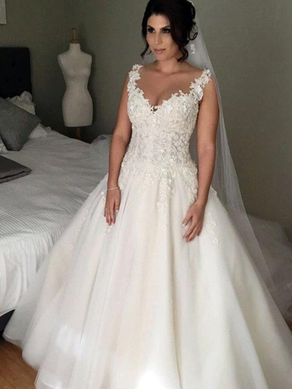 Ball Gown Sleeveless V-neck Court Train Lace Tulle Applique Wedding Dresses