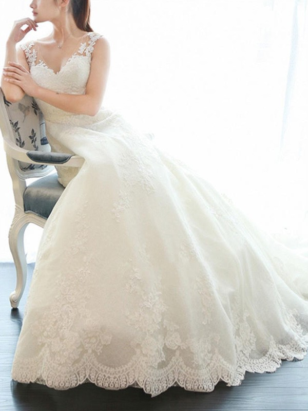 A-Line/Princess V-neck Sleeveless Court Train Applique Lace Wedding Dresses