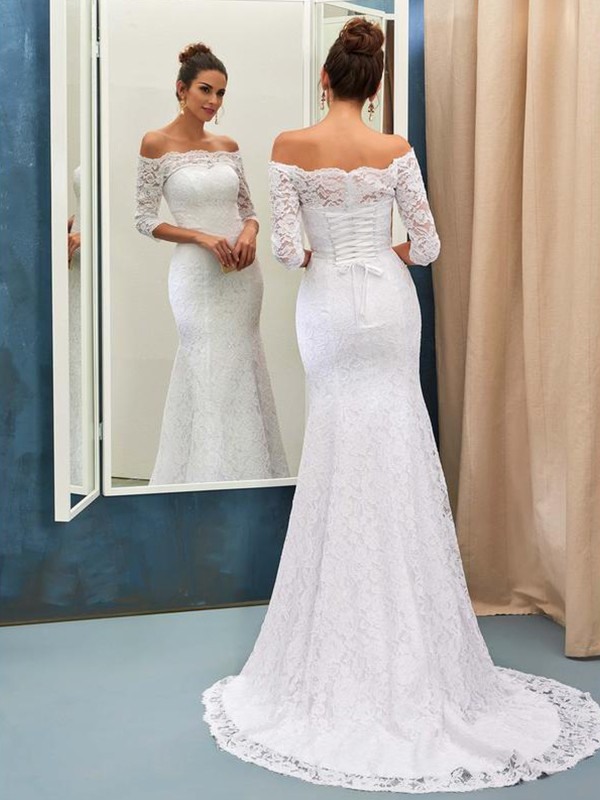 Trumpet/Mermaid Off-the-Shoulder 1/2 Sleeves Sweep/Brush Train Lace Wedding Dresses