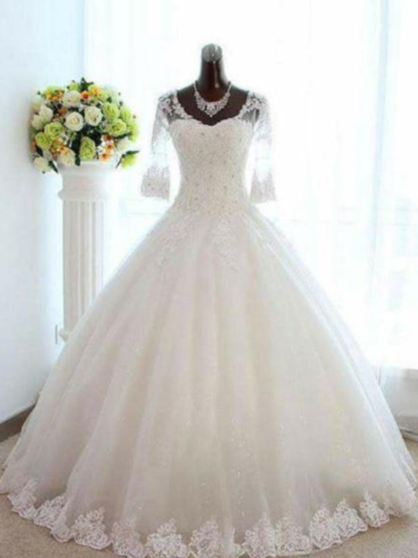 Ball Gown 3/4 Sleeves Bateau Floor-Length V-neck Beading Tulle Wedding Dresses