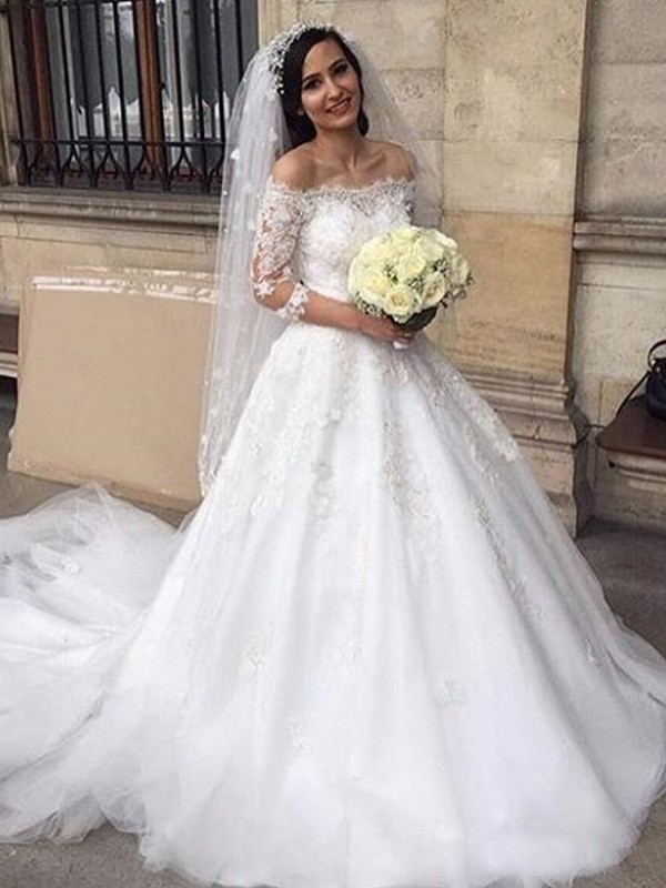 Ball Gown Tulle Off-the-Shoulder 3/4 Sleeves Chapel Train Applique Wedding Dresses