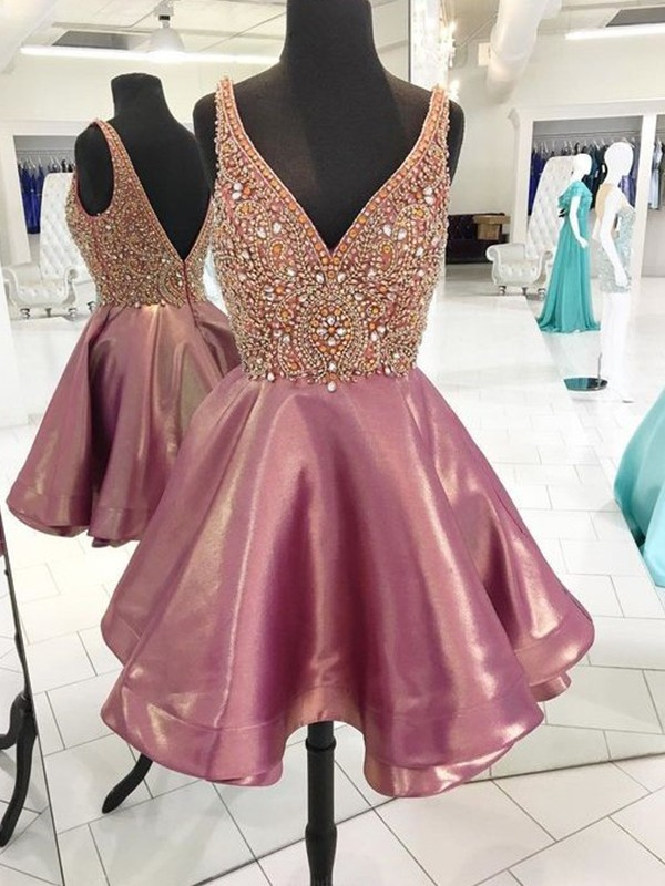 A-Line/Princess V-neck Satin Beading Short Dresses