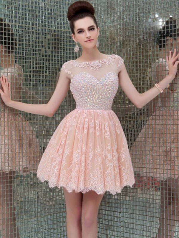 A-Line/Princess Scoop Lace Beading Short Dresses