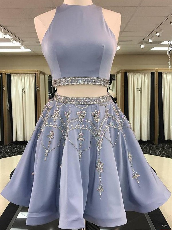 A-Line/Princess Bateau Satin Beading Short Two Piece Dresses