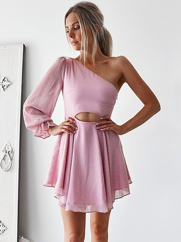 A-Line/Princess One-Shoulder Chiffon Ruffles Short Dresses
