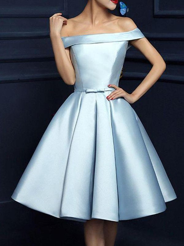 Knee-Length A-Line/Princess Off-the-Shoulder Sleeveless Satin Homecoming Dress