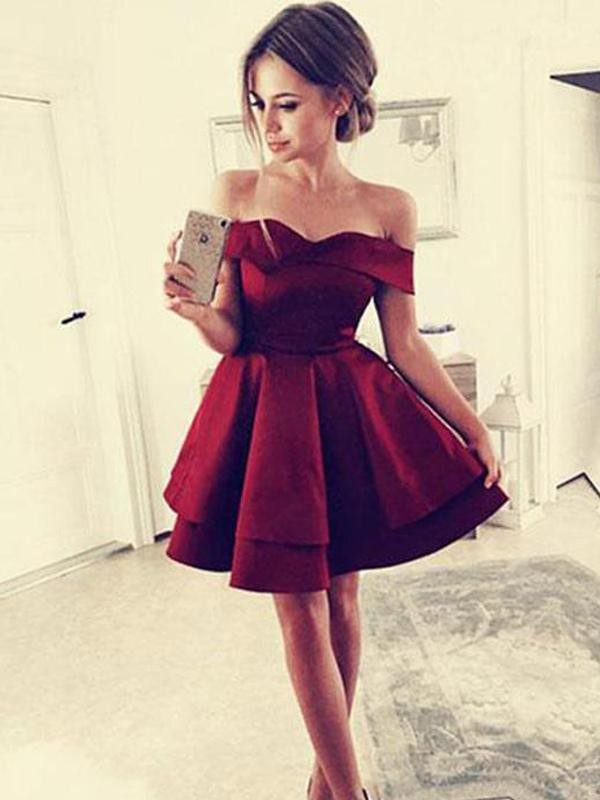 A-Line/Princess Off-the-Shoulder Ruffles Satin Sleeveless Short/Mini Dresses