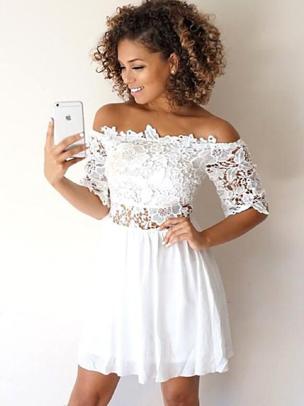 A-Line/Princess Chiffon Off-the-Shoulder Applique 1/2 Sleeves Short/Mini Dresses