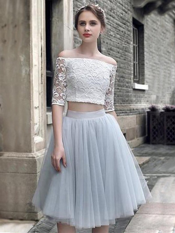 A-Line/Princess 1/2 Sleeves Ruched Off-the-Shoulder Tulle Knee-Length Two Piece Dresses