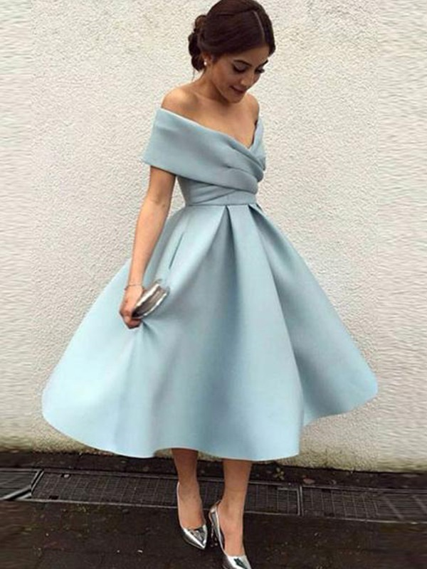 A-Line/Princess Off-the-Shoulder Satin Sleeveless Ruffles Tea-Length Dresses