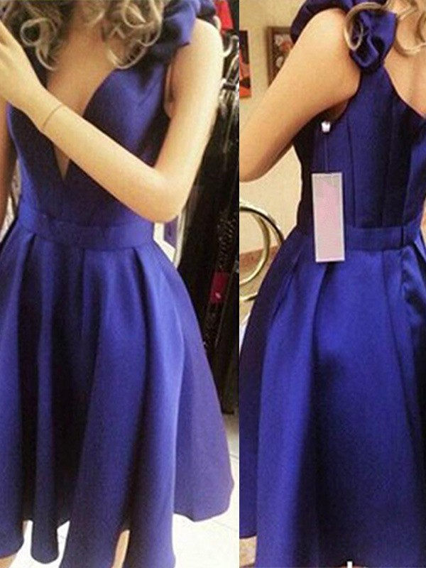 A-Line/Princess Bowknot Sleeveless Straps Satin Short/Mini Dresses