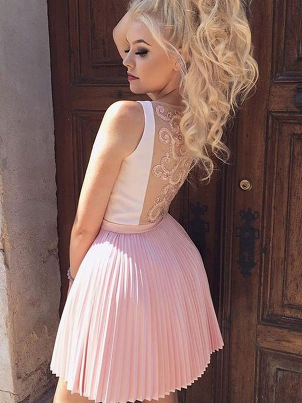 A-Line/Princess V-neck Satin Sleeveless Pleats Short/Mini Dresses