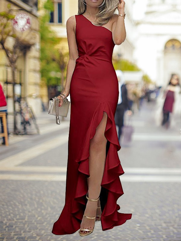 Sheath/Column One-Shoulder Ruffles Sweep/Brush Train Silk like Satin Dresses