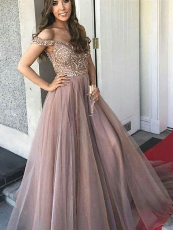A-Line/Princess Off-the-Shoulder Sleeveless Beading Floor-Length Tulle Dresses
