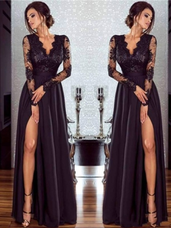 A-Line/Princess V-neck Long Sleeves Lace Chiffon Floor-Length Applique Dresses