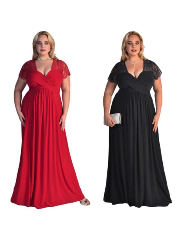 A-Line/Princess V-neck Short Sleeves Lace Chiffon Floor-Length Plus Size Dresses