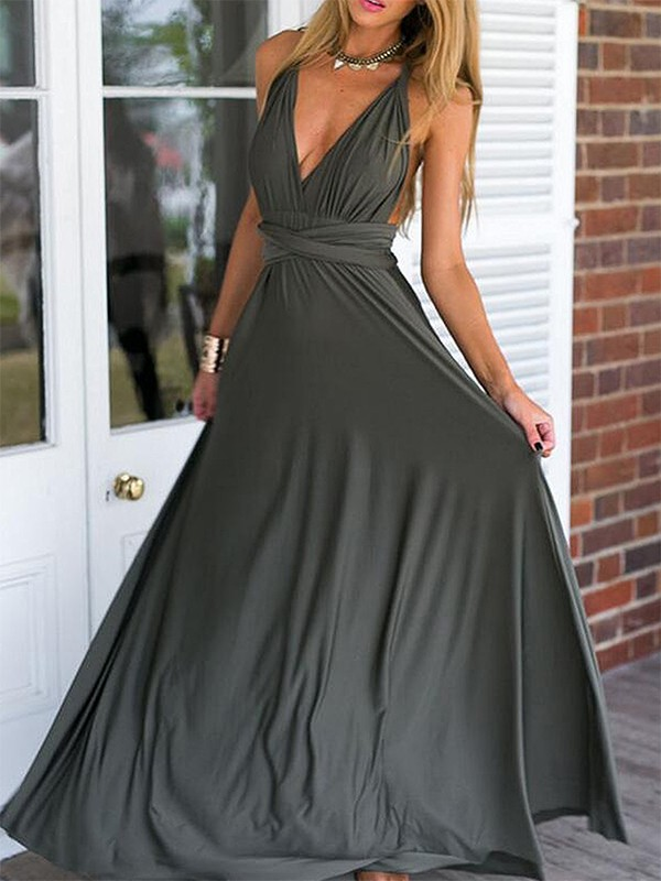 Empire Sleeveless V-neck Chiffon Ruffles Floor-Length Dresses