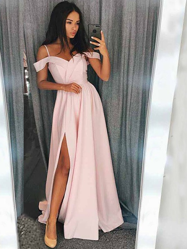 A-Line/Princess Off-the-Shoulder Sleeveless Ruffles Satin Sweep/Brush Train Dresses
