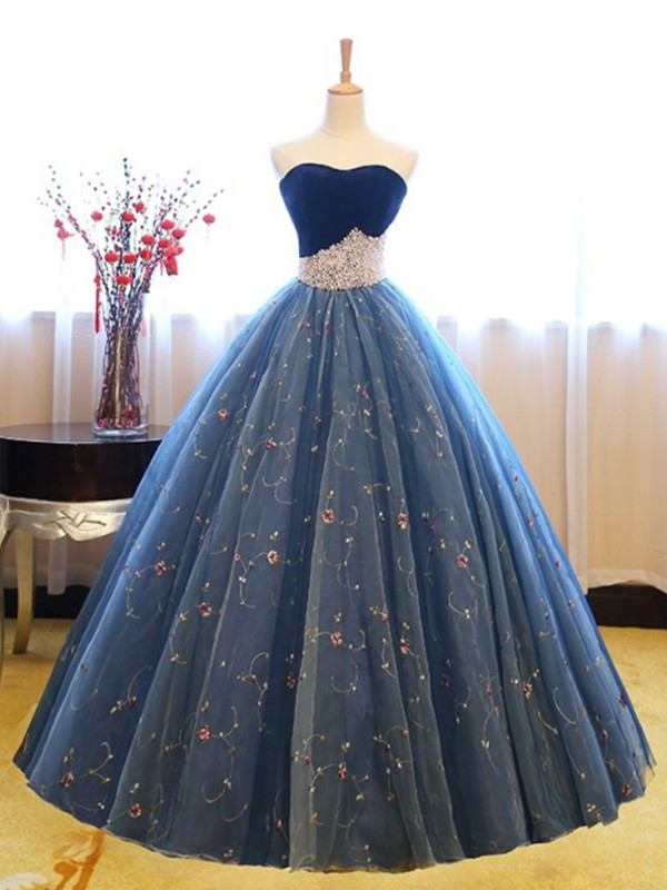 Ball Gown Sweetheart Sleeveless Floor-Length Beading Net Dresses