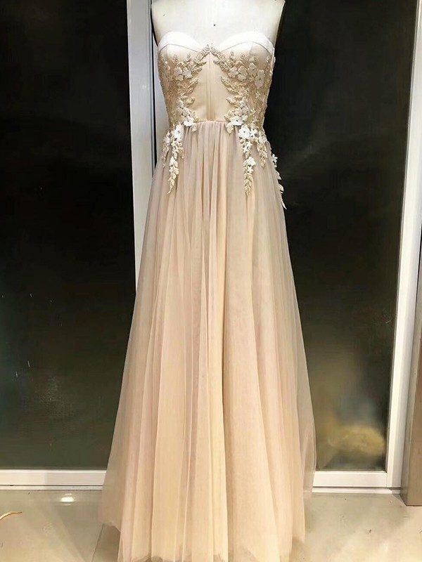 Empire Sweetheart Sleeveless Applique Tulle Floor-Length Dresses
