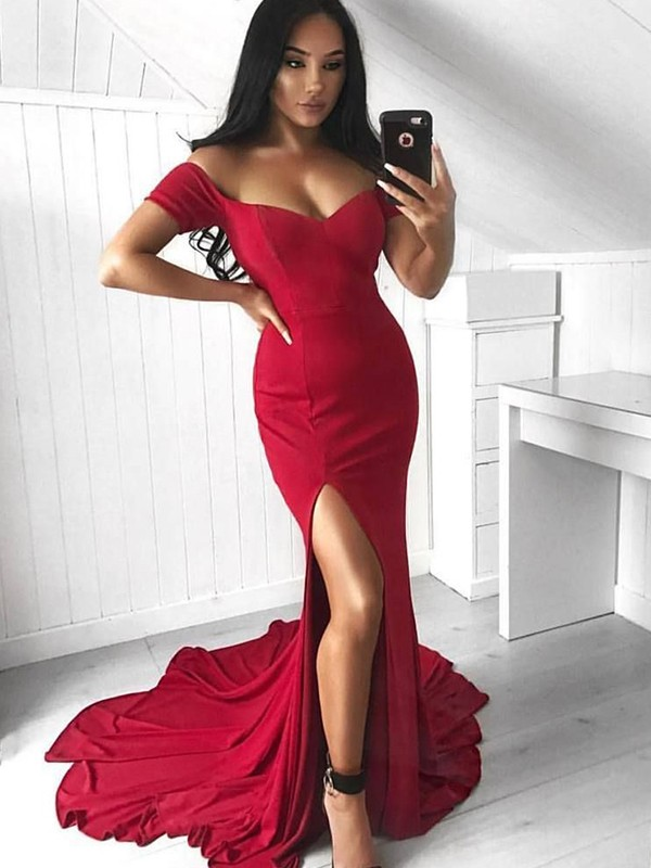 Trumpet/Mermaid Off-the-Shoulder Sleeveless Ruffles Spandex Court Train Dresses
